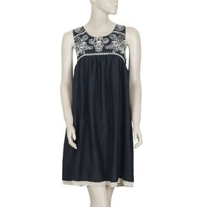Odd Molly Embroidered Crochet Lace Black Dress XS